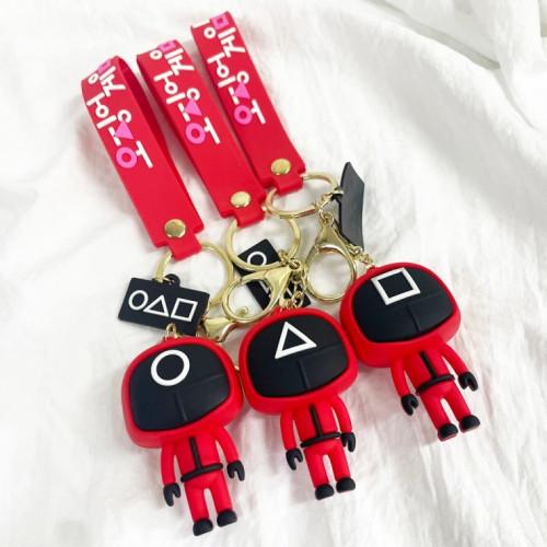 오징어게임 피규어 키링 열쇠고리 / 도형 관리자 핸드스트랩  (DMM-17569713)